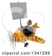 Clipart Of A 3d Mad Young Black Businessman Aviator Pilot Flying A Yellow Airplane And Holding A Blank Sign Royalty Free Illustration