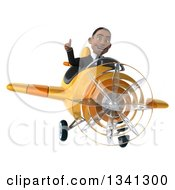 Clipart Of A 3d Young Black Businessman Aviator Pilot Flying A Yellow Airplane And Giving A Thumb Up Royalty Free Illustration