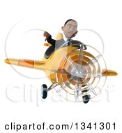 Clipart Of A 3d Young Black Businessman Aviator Pilot Flying A Yellow Airplane And Giving A Thumb Down Royalty Free Illustration