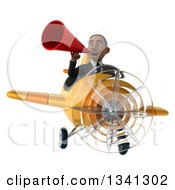 Clipart Of A 3d Young Black Businessman Aviator Pilot Flying A Yellow Airplane And Announcing With A Megaphone Royalty Free Illustration