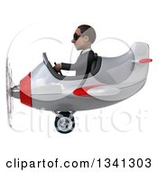 Clipart Of A 3d Young Black Businessman Aviator Pilot Wearing Sunglasses And Flying A White And Red Airplane Royalty Free Illustration