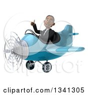 Clipart Of A 3d Young Black Businessman Aviator Pilot Flying A Blue Airplane And Giving A Thumb Up Royalty Free Illustration