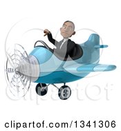 Clipart Of A 3d Young Black Businessman Aviator Pilot Flying A Blue Airplane And Giving A Thumb Down Royalty Free Illustration