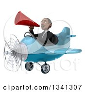 Clipart Of A 3d Young Black Businessman Aviator Pilot Flying A Blue Airplane And Announcing With A Megaphone Royalty Free Illustration
