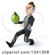 Clipart Of A 3d Young White Businessman Holding A Green Tincture Medicine Drop And Speed Walking To The Left Royalty Free Illustration