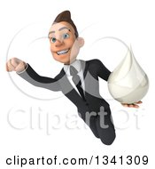 Clipart Of A 3d Young White Businessman Holding A Milk Soap Or Shampoo Drop And Flying Royalty Free Illustration