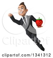 Clipart Of A 3d Young White Businessman Holding A Strawberry And Flying Royalty Free Illustration