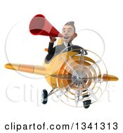 Clipart Of A 3d Young White Businessman Flying A Yellow Airplane And Announcing With A Megaphone Royalty Free Illustration