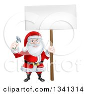 Poster, Art Print Of Happy Christmas Santa Claus Carpenter Holding A Hammer And Blank Sign 4