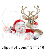 Clipart Of A Cartoon Christmas Red Nosed Reindeer And Santa Giving A Thumb Up Above A Sign 2 Royalty Free Vector Illustration