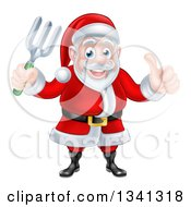 Clipart Of A Cartoon Christmas Santa Holding A Garden Fork And Giving A Thumb Up Royalty Free Vector Illustration