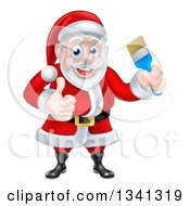 Clipart Of A Christmas Santa Claus Holding A Blue Paintbrush And Giving A Thumb Up 2 Royalty Free Vector Illustration by AtStockIllustration