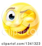 3d Yellow Smiley Emoji Emoticon Face Winking