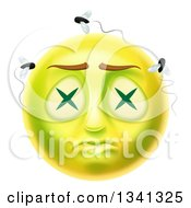 3d Dead Rotting Smiley Emoji Emoticon Face With Flies