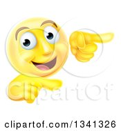 Clipart Of A 3d Yellow Smiley Emoji Emoticon Face Pointing To The Right Royalty Free Vector Illustration by AtStockIllustration