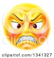 Clipart Of A 3d Angry Yellow Female Smiley Emoji Emoticon Face Royalty Free Vector Illustration by AtStockIllustration