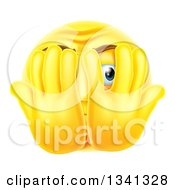 3d Yellow Smiley Emoji Emoticon Covering His Face And Peeking Through Fingers