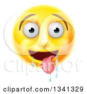 Clipart Of A 3d Yellow Smiley Emoji Emoticon Face Drooling Royalty Free Vector Illustration