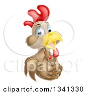 Clipart Of A Happy Brown Chicken Or Rooster Giving A Thumb Up Royalty Free Vector Illustration