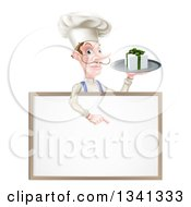 Clipart Of A White Male Chef With A Curling Mustache Holding A Gift On A Platter And Pointing Down At A Blank White Board Menu Sign Royalty Free Vector Illustration