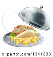 Clipart Of A 3d Souvlaki Kebab Sandwich And French Fries Being Served In A Cloche Platter Royalty Free Vector Illustration