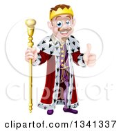 Clipart Of A Happy Brunette White King Giving A Thumb Up And Holding A Staff Royalty Free Vector Illustration by AtStockIllustration