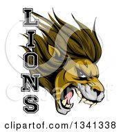 Clipart Of A Aggressive Male Lion Roaring Mascot Head And Text Royalty Free Vector Illustration