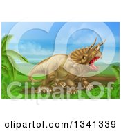 Clipart Of A 3d Roaring Angry Triceratops Dinosaur In A Landscape Royalty Free Vector Illustration by AtStockIllustration