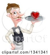Cartoon Caucasian Male Waiter With A Curling Mustache Holding A Red Love Heart On A Tray
