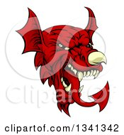 Clipart Of A Cartoon Red Welsh Dragon Mascot Royalty Free Vector Illustration