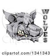 Snarling Gray Wolf Mascot Head And Text