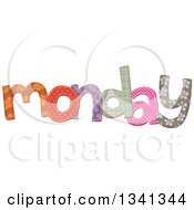 Clipart Of A Patterned Stitched Monday Day Of The Week Royalty Free Vector Illustration