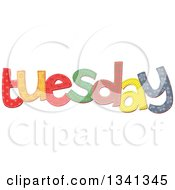 Clipart Of A Patterned Stitched Tuesday Day Of The Week Royalty Free Vector Illustration