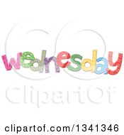 Clipart Of A Patterned Stitched Wednesday Day Of The Week Royalty Free Vector Illustration