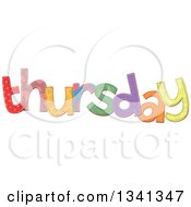 Clipart Of A Patterned Stitched Thursday Day Of The Week Royalty Free Vector Illustration