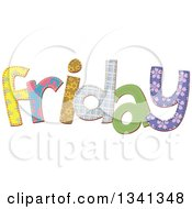 Clipart Of A Patterned Stitched Friday Day Of The Week Royalty Free Vector Illustration