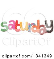Clipart Of A Patterned Stitched Saturday Day Of The Week Royalty Free Vector Illustration