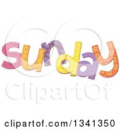 Clipart Of A Patterned Stitched Sunday Day Of The Week Royalty Free Vector Illustration