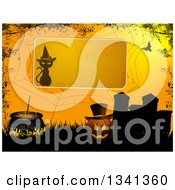 Clipart Of A Halloween Background With A Witch Cat Sign Over A Spider Web Grunge Jackolantern Pumpkin Cauldron And Tombstones Royalty Free Vector Illustration