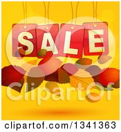 Clipart Of 3d Suspended Red Sale Tags And Floating Autumn Leaves Over Gradient And Flares Royalty Free Vector Illustration by elaineitalia