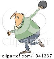 Cartoon Chubby White Man Swinging Back A Bowling Ball