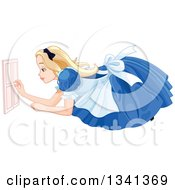 Clipart Of A Giant Alice In Wonderland Opening A Tiny Door Royalty Free Vector Illustration