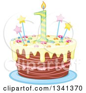 Clipart Of A First Birthday Cake With A Number Candle Stars Candy And Yellow Frosting Royalty Free Vector Illustration