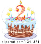 Clipart Of A Second Birthday Cake With A Number Candle Stars Candy And Blue Frosting Royalty Free Vector Illustration