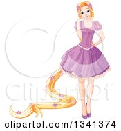 Princess Rapunzel With Long Hair Decorated In Flowers Wearing A Purple Dress