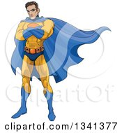Clipart Of A Cartoon Muscular Young White Male Super Hero With Folded Arms Wearing A Yellow And Blue Suit Royalty Free Vector Illustration
