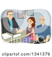 Cartoon Grandfather And Teen Girl In A Counseling Session