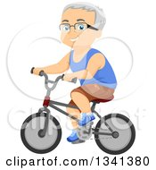 Clipart Of A Happy Senior Caucasian Man Riding A Bicycle Royalty Free Vector Illustration