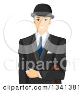 Clipart Of A Happy Senior White English Man In A Suit Royalty Free Vector Illustration