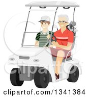 Clipart Of A Happy Senior White Man Dirving His Grandson In A Golf Cart Royalty Free Vector Illustration
